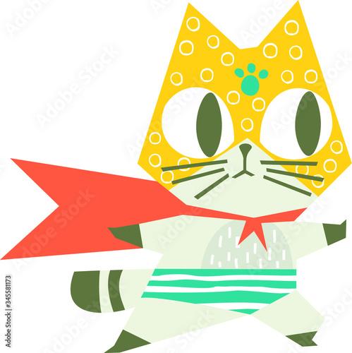 Cartoon superhero cat Canvas Print