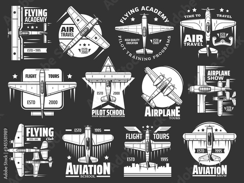 Photo Aviation school and academy icons, aircraft and airplane, pilots and flight aviators vector retro badges