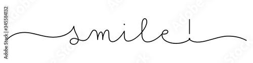 Obraz SMILE! black vector monoline calligraphy banner with swashes - fototapety do salonu