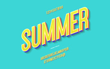 Vector Fun Summer Font 3d Bold Color Style Modern Typography For Decoration, Logo, Poster, T Shirt, Book, Card, Sale Banner, Printing On Fabric, Industrial. Cool Typeface. Trendy Alphabet. 10 Eps