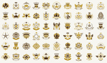 Classic Style Crowns And Stars Emblems Big Set, Ancient Heraldic Symbols Awards And Labels Collection, Classical Heraldry Design Elements, Family Or Business Emblems With Coronets.