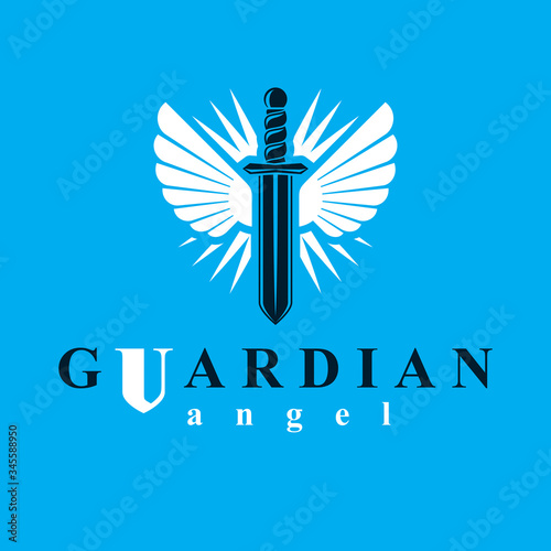 Fotografia Vector graphic illustration of sword created with bird wings, battle and security metaphor symbol