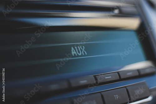 car radio with aux function. bokeh background Canvas Print