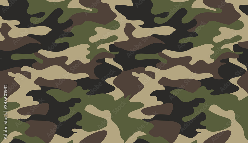 Fototapeta Camouflage pattern background vector. Classic clothing style masking camo repeat print. Virtual background for online conferences, online transmissions. Green brown black olive colors forest texture