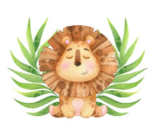 Cute Lion With Tropical Twigs ...