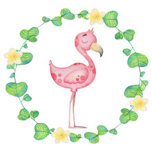 Cute Flamingo In A Flower Frame. Watercolor Illustration For Textiles, Postcard, Baby Print, Baby Birth
