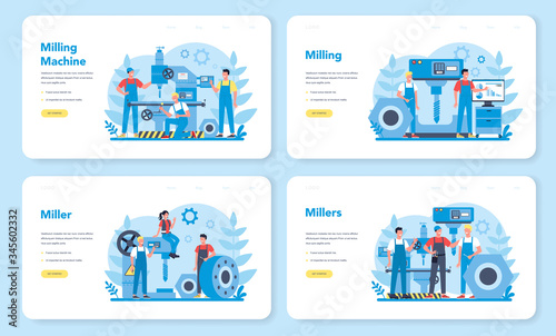 Miller and milling web banner or landing page set Canvas Print