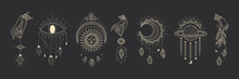 Vector Illustration Set Of Moon Phases. Different Stages Of Moonlight Activity In Vintage Engraving Style. Zodiac Signs, Shining Crystals, Female Hand