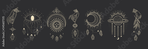 Foto Vector illustration set of moon phases