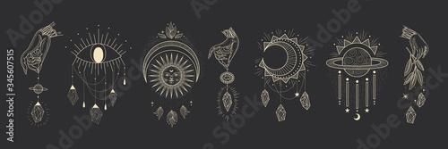 Fotografie, Obraz Vector illustration set of moon phases