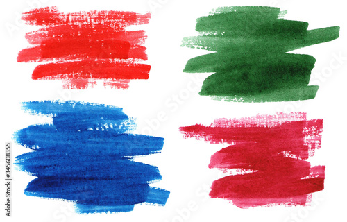 Fototapeta Abstract watercolor brush strokes. Green, blue, red and wine strokes. obraz