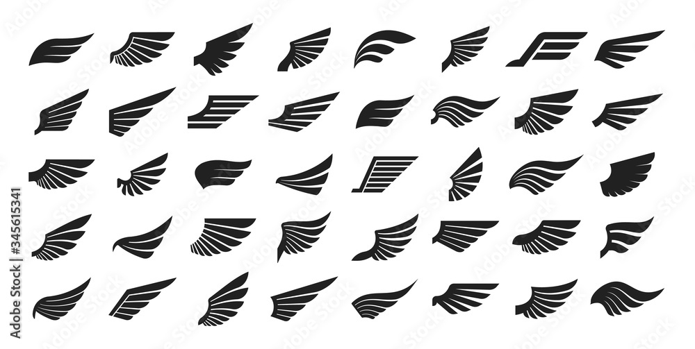 Fototapeta Set of black wings icons. Wings badges. Collection wings badges. Vector illustration.