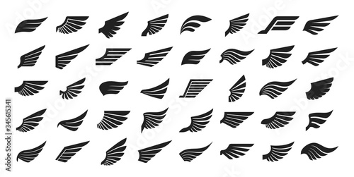 Fototapeta Set of black wings icons. Wings badges. Collection wings badges. Vector illustration. obraz