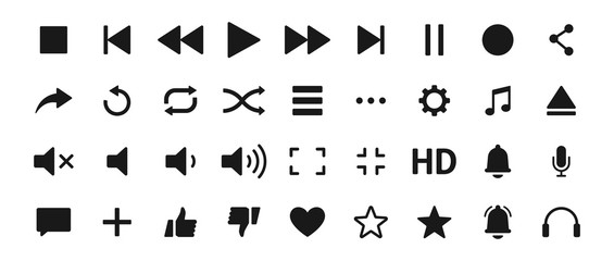 Set of Media player icons. Music, interface, design media player buttons collection. Vector Illustration.
