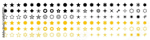 Obraz Stars set of 132 black and yellow icons. Rating Star icon. Star vector collection. Modern simple stars. Vector illustration. - fototapety do salonu