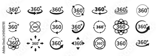 360 degree views of vector circle icons set isolated from the background. Signs with arrows to indicate the rotation or panoramas to 360 degrees. Vector illustration. - fototapety na wymiar