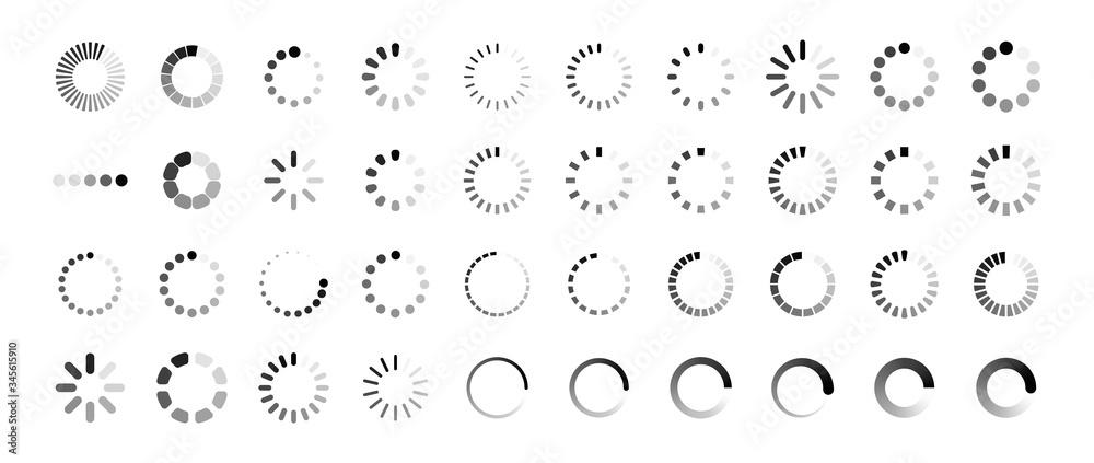 Fototapeta Loading icon set. Buffer loader or preloader. Donload or Upload. Collection of simple web download. Vector illustration.