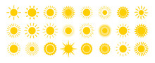 Sun Icon Set. Yellow Sun Star ...