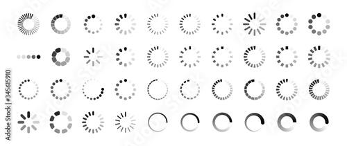 Loading icon set. Buffer loader or preloader. Donload or Upload. Collection of simple web download. Vector illustration.