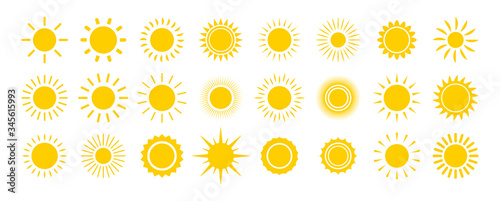 Fototapeta Sun icon set. Yellow sun star icons collection. Summer, sunlight, nature, sky. Vector illustration isolated on white background. obraz
