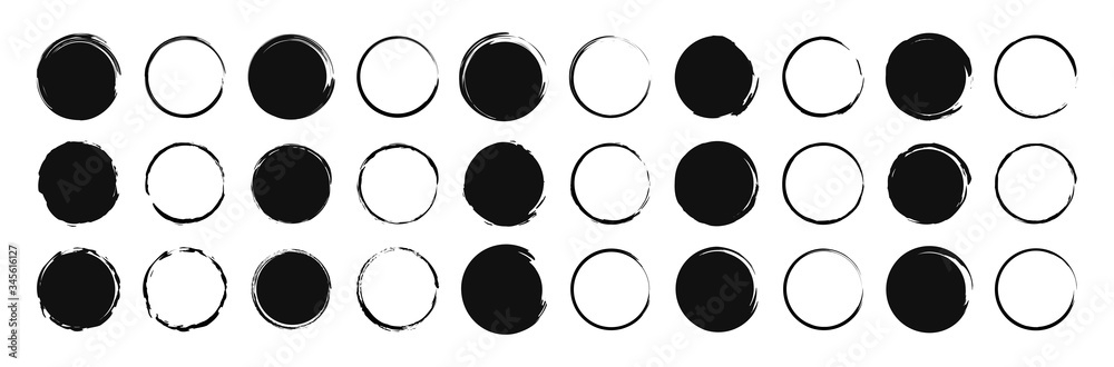 Fototapeta Set of 30 Hand drawn circle. Drawning circle. Scribble doodle. Brush circle. Vector illustration.