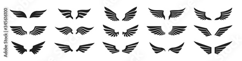 Photo Set of black wings icons