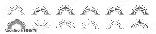 Obraz Sunburst set. Big collection sunburst best quality. Star, firework explosion, logo, emblem, tag. Web banner. Vector Illustration. - fototapety do salonu