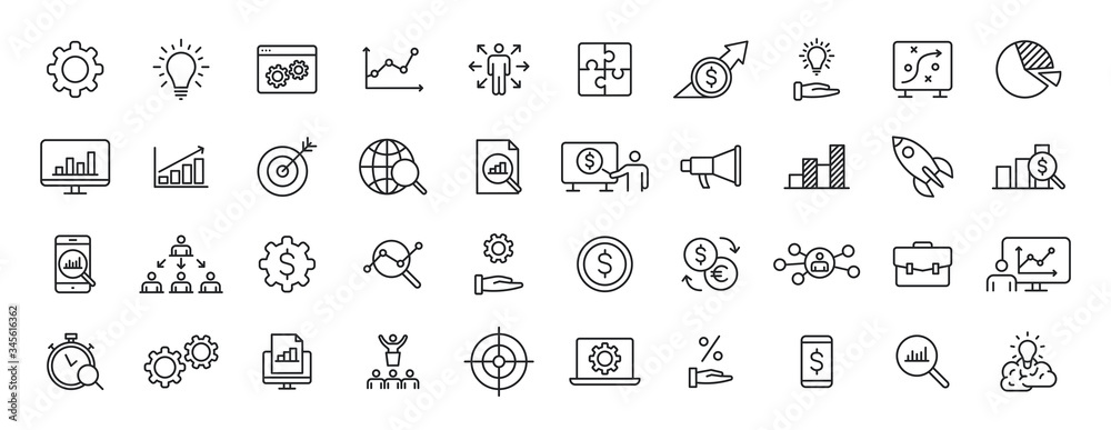 Fototapeta Set of 40 Data Proceassing web icons in line style. Graphic, analytics, statistic, network, diagrams, digital. Vector illustration.
