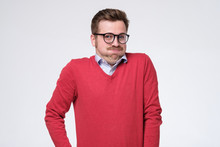 Young Man In Glasses And Red S...