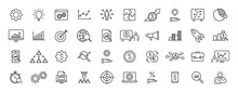 Set Of 40 Data Proceassing Web Icons In Line Style. Graphic, Analytics, Statistic, Network, Diagrams, Digital. Vector Illustration.