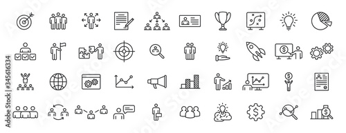Obraz na plátne Set of 40 Headhunting web icons in line style