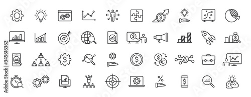 Fototapeta Set of 40 Data Proceassing web icons in line style. Graphic, analytics, statistic, network, diagrams, digital. Vector illustration. obraz