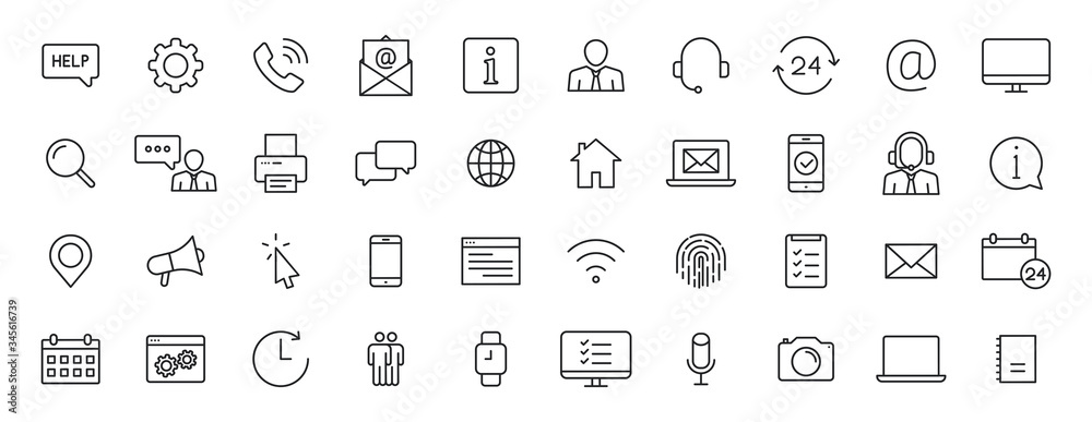Fototapeta Set of 40 Support and Help web icons in line style. Assistance, email, customer, 24 hrs, service, contact. Vector illustration.