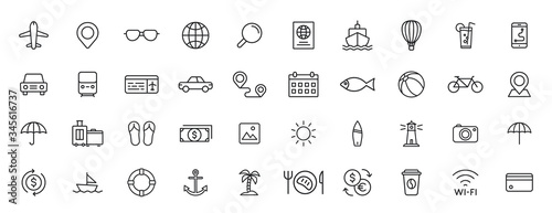 Set of 40 Travel and Holiday web icons in line style Fototapeta