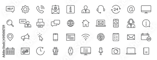 Fotografía Set of 40 Support and Help web icons in line style