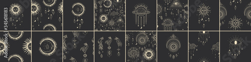 Vector illustration set of moon phases Tableau sur Toile