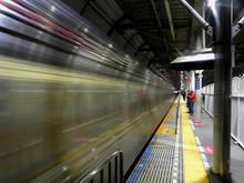 Blurred Motion Of Train At Subway Station
