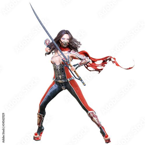 3D japanese assassin woman render. Canvas Print