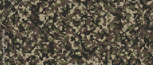 Papel de parede Brown, green and black Pixel Camouflage