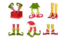 Elf Legs In Shoes With Crooked Toes And Ornamental Pants Or Socks Vector Set