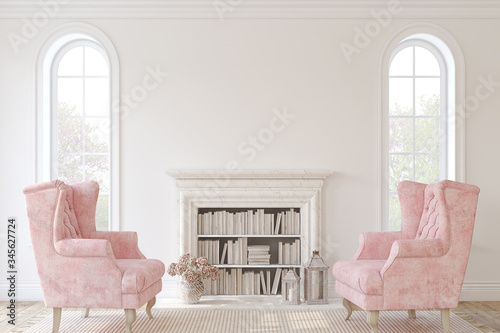 Romantic fireplace. 3d render. Canvas-taulu