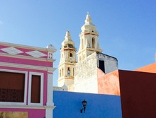 Low Angle View Of Church At Campeche Against Blue Sky