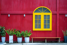 Yellow Window, Flowerpots With...