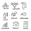 hand drawn Head Hunting Related Vector Line Icons. Contains such Icons as Candidate, CV, Card Index, Outsource and more. doodle