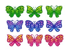Set Of Butterflies On A White ...