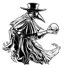Plague Doctor With Skull Black...