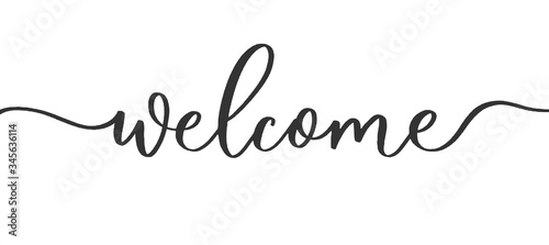 Obraz Welcome - calligraphic inscription with  smooth lines. - fototapety do salonu