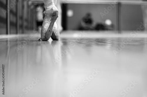 Low Section Of Ballerina On Tiptoe In Dance Studio Fototapet