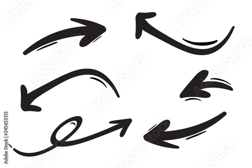 Foto Hand drawn arrows set. Vector doodle icon.
