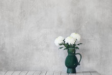 White Chrysanthemum In Old Jug...